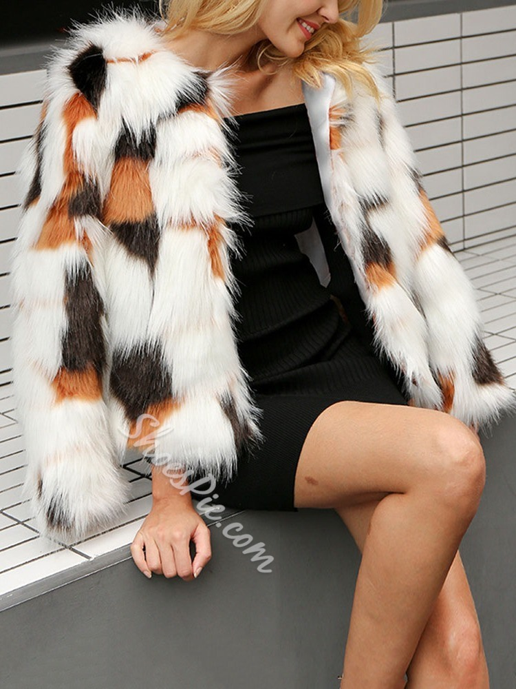 Standard Round Neck Color Block Thick Women's Faux Fur Overcoat