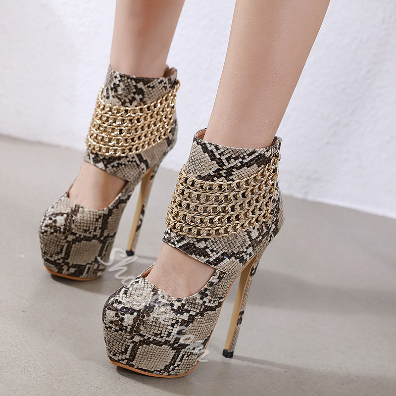 Shoespie Stylish Zipper Zipper Round Toe Stripper Shoes