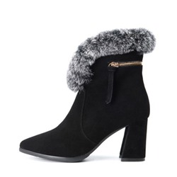 Shoespie Sexy Pointed Toe Chunky Heel Plain Fashion Boots