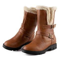 Shoespie Sexy Slip-On Round Toe Block Heel Snow Boots