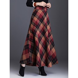 Ankle-Length Plaid A-Line Women's Skirt