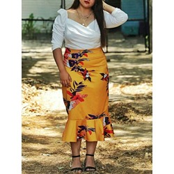 Plus Size Print Floral Mermaid Western Women's Skirt