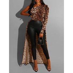 Leopard Stylish Print Long Sleeve Women's Blouse