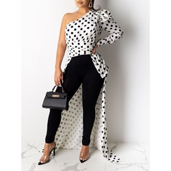 Print Polka Dots Long Women's Blouse
