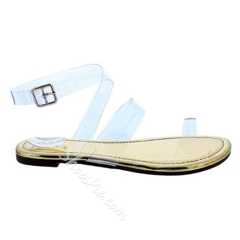 Shoespie Trendy Toe Ring Flat With Line-Style Buckle Low-Cut Upper Sandals