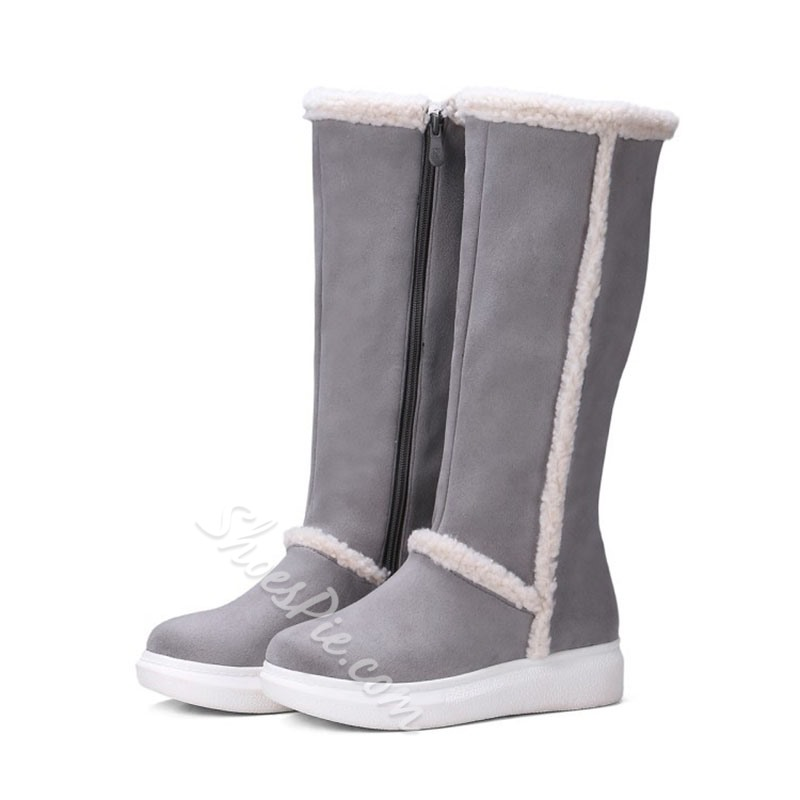 Shoespie Stylish Color Block Flat With Side Zipper Platform Boots