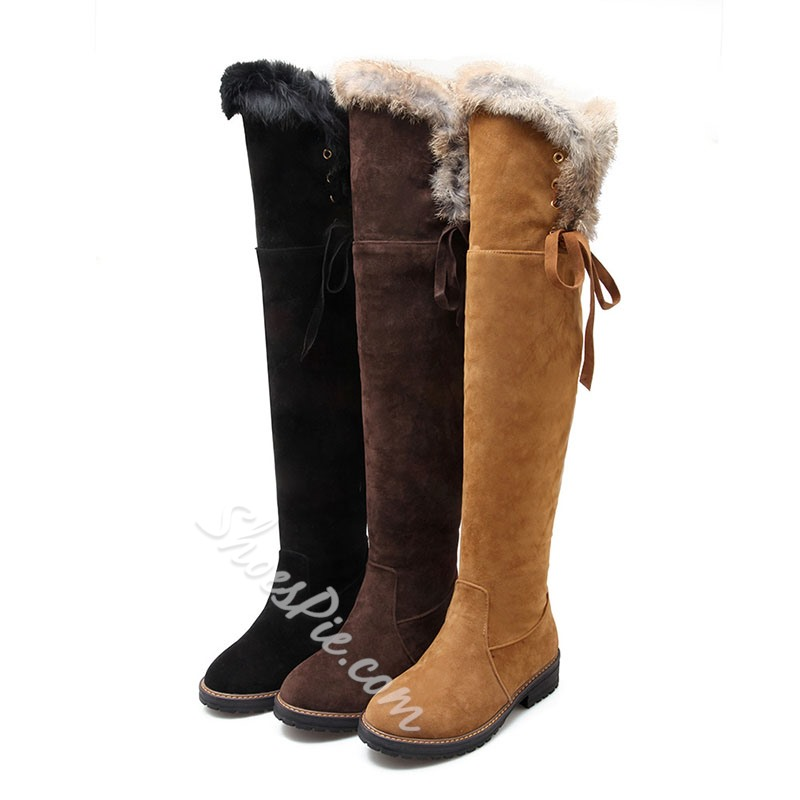 Shoespie Trendy Round Toe Slip-On Lace-Up Knee High Boots