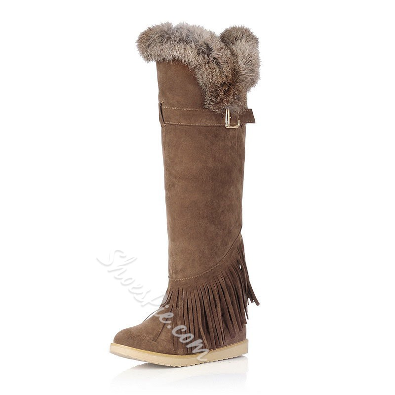 Shoespie Stylish Round Toe Flat With Fringe Knee High Boots