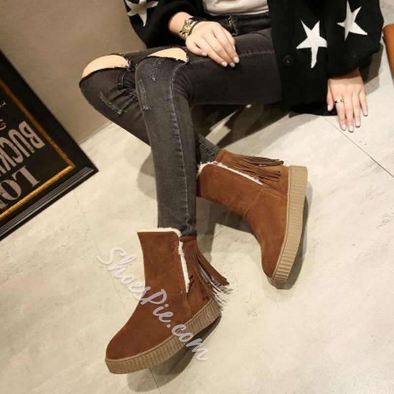 Shoespie Stylish Plain Platform Round Toe Platform Boots