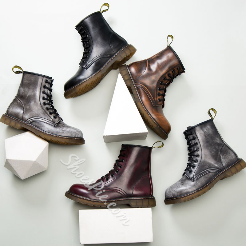 Shoespie Men's Flat With Plain Round Toe Leather Boots