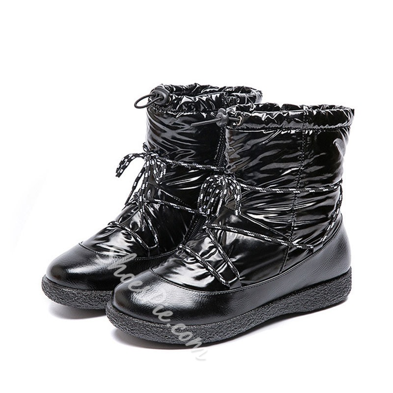 Shoespie Stylish Round Toe Flat With Lace-Up Front Casual Boots