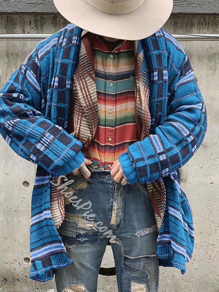Plaid Mid-Length Casual Winter Sweater