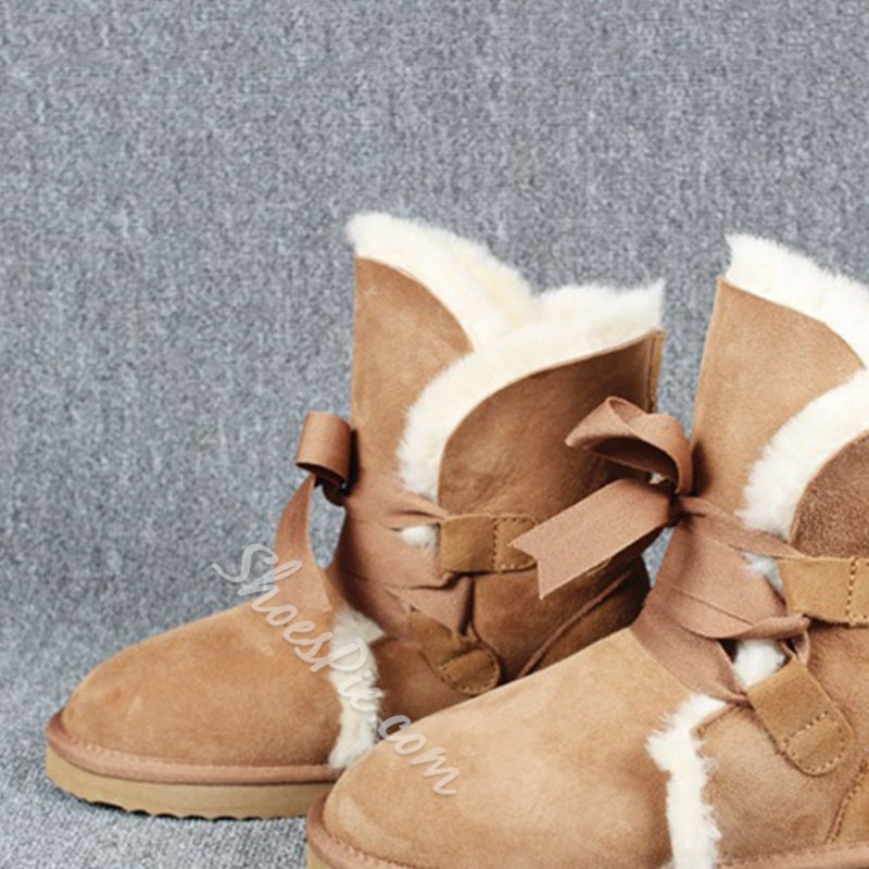 Shoespie Plain Lace-Up Front Thread Flat Snow Boots