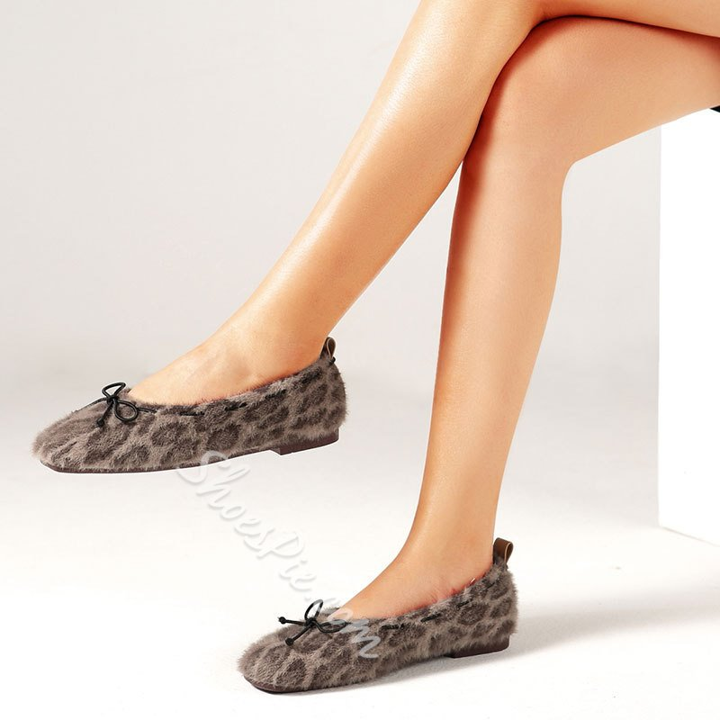 Shoespie Trendy Square Toe Bow Flat With Low-Cut Upper Thin Shoes