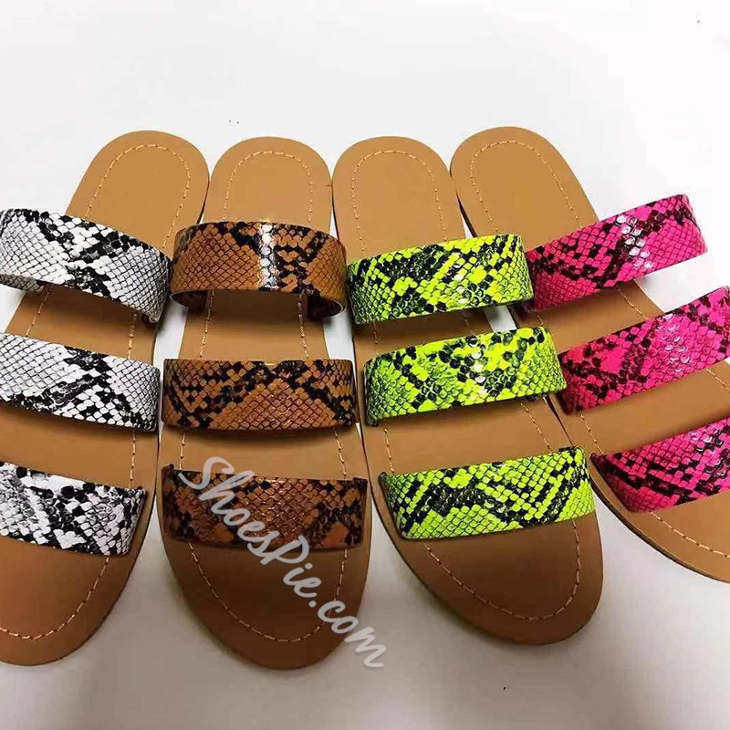 Shoespie Stylish Slip-On Flip Flop Serpentine Summer Slippers