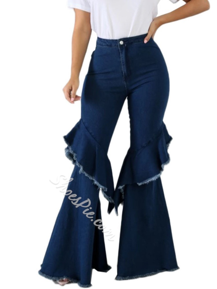 Plain Bellbottoms Button High Waist Women's Jeans