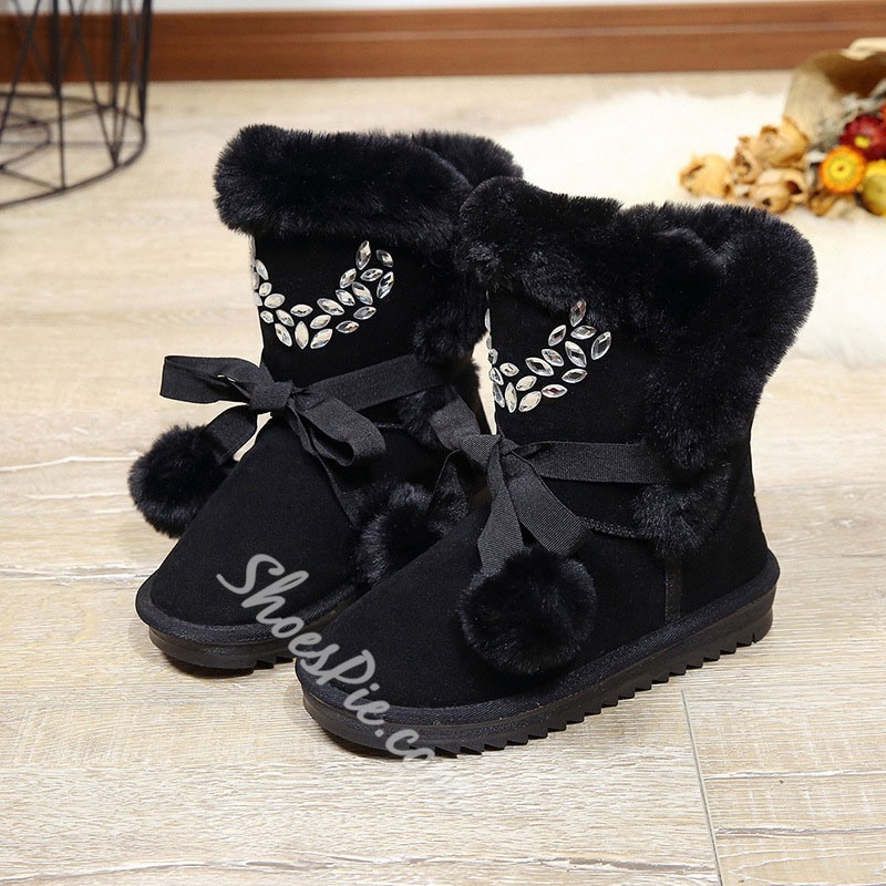 Shoespie Sexy Plain Flat With Slip-On Rhinestone Boots