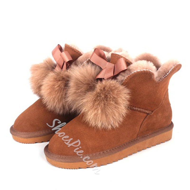 Shoespie Stylish Slip-On Plain Flat With Pompon Boots