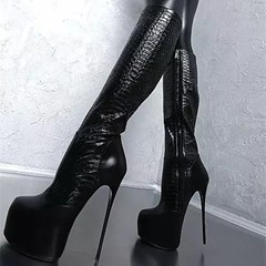 Shoespie Sexy Round Toe Side Zipper Platform Knee High Boots