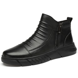 Shoespie Men's Side Zipper Round Toe Plain Leather Boots