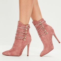 Shoespie Trendy Stiletto Heel Pointed Toe Hasp Cross Strap Boots