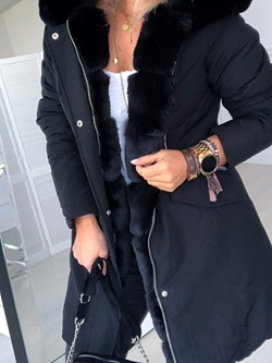 Hooded Patchwork Mid-Length Casual Women's Jacket