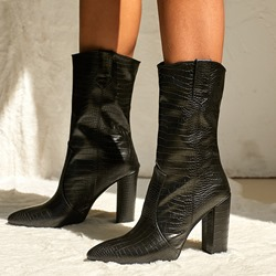 Shoespie Trendy Chunky Heel Pointed Toe Plain PU Boots