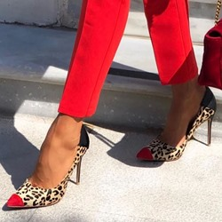 Shoespie Trendy Slip-On Pointed Toe Leopard Stiletto Heel