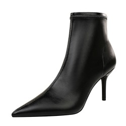 Shoespie Sexy Black Side Zipper Stiletto Heel Plain Thread Boots
