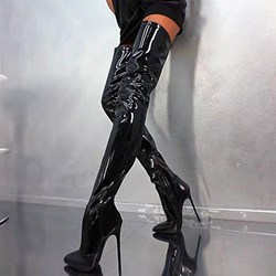 Shoespie Sexy Black Pointed Toe Side Zipper Knee High Boots