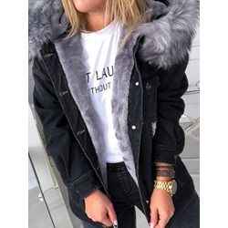 Single-Breasted Hooded Patchwork Loose Women's Jacket
