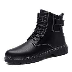 Shoespie Men's Round Toe Lace-Up Front PU Boots