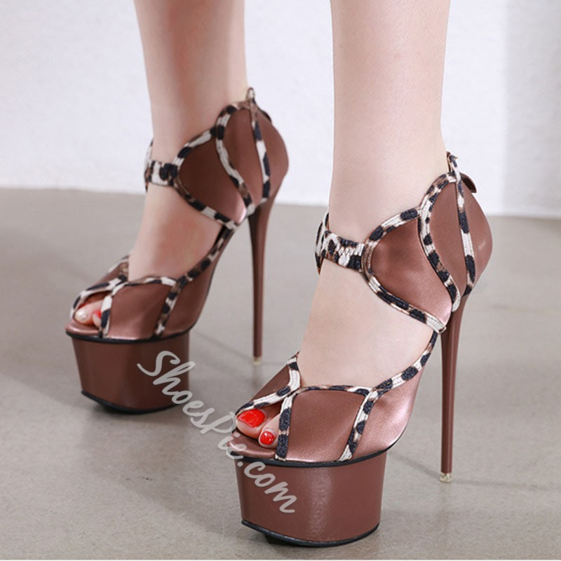 Shoespie Trendy Stiletto Heel Zipper Peep Toe Stripper Shoes