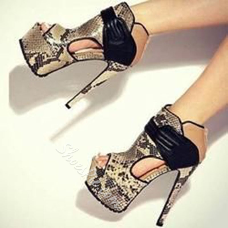 Shoespie Trendy Stiletto Heel Zipper Open Toe Serpentine Sandals