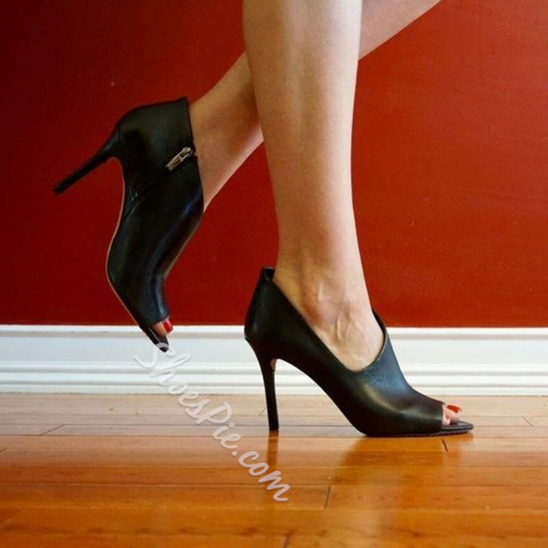 Shoespie Sexy Covering Zipper Peep Toe Stiletto Heels