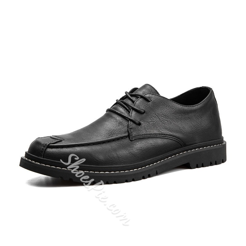 Shoespie Men's Color Block Low-Cut Upper Lace-Up Closed Toe Thin Shoes