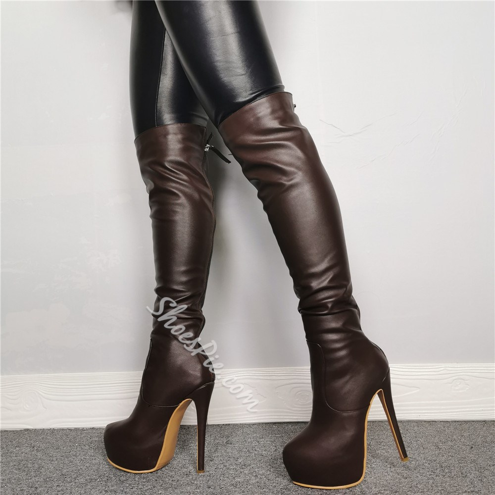 Shoespie Trendy Back Zip Round Toe Knee High Boots