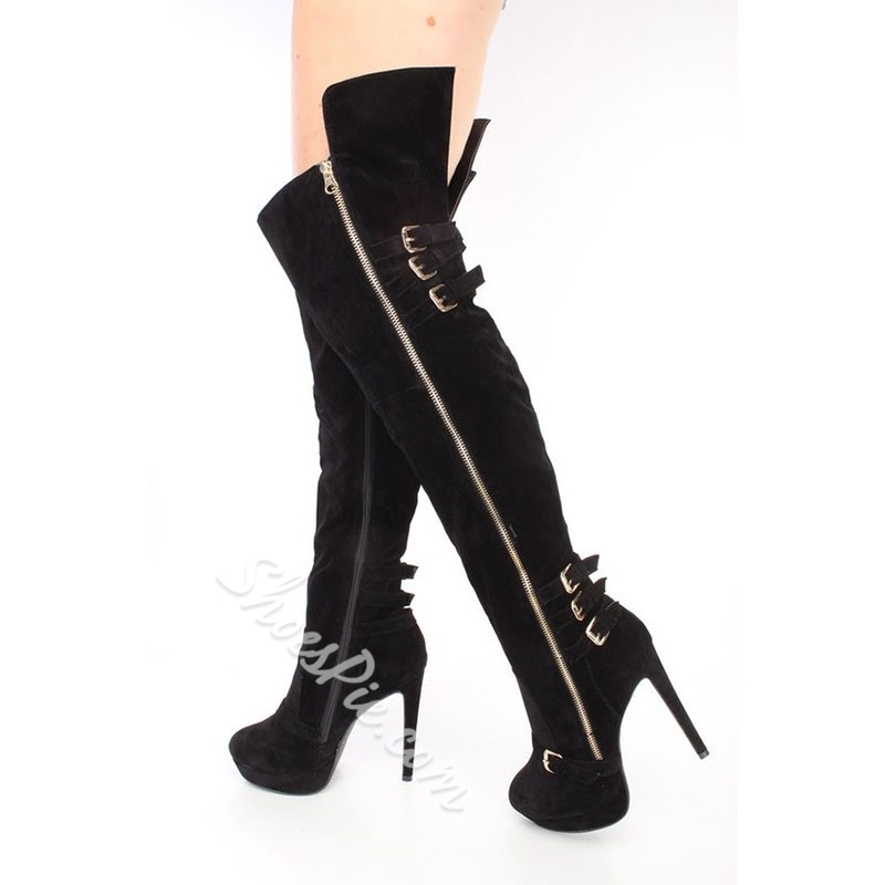 Shoespie Suede Sexy Side Zipper Stiletto Heel Pointed Toe Platform Boots