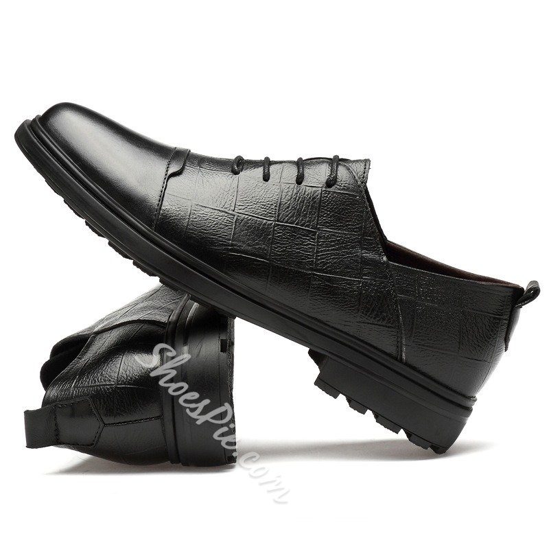 Shoespie Men's Low-Cut Upper Lace-Up Plain Round Toe Leather Shoes