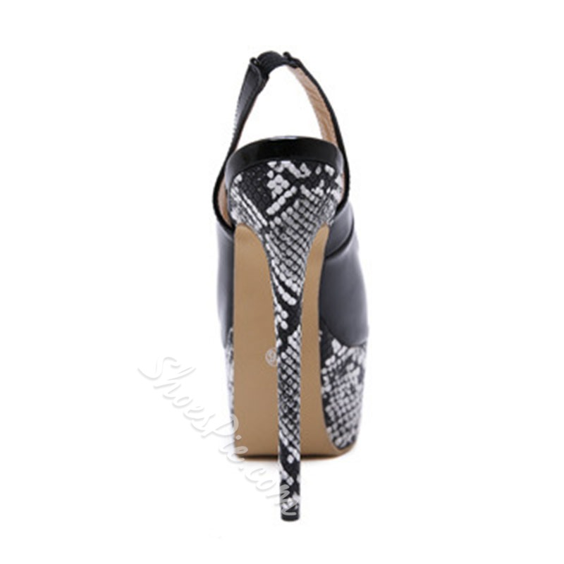 Shoespie Trendy Peep Toe Stiletto Heel Slingback Strap Color Block Sandals