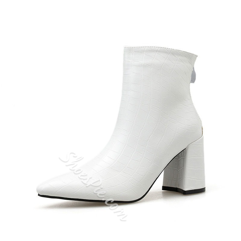 Shoespie Trendy Pointed Toe Plain Back Zip Simple Boots