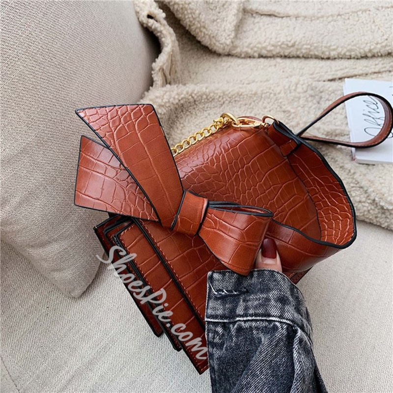 Shoespie Alligator Bowtie PU Square Crossbody Bags