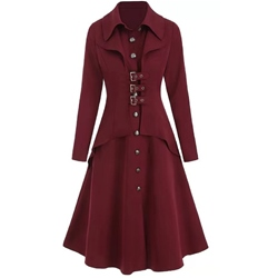 A Line Single-Breasted Button Lapel Women's Overcoat