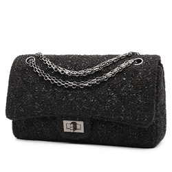 Shoespie Wool Blends Plain Chain Rectangle Crossbody Bags