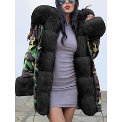 Loose Patchwork Mid-Length Women's Cotton Padded Jacket