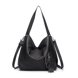 Shoespie PU Thread Plain Half Moon Shoulder Bags
