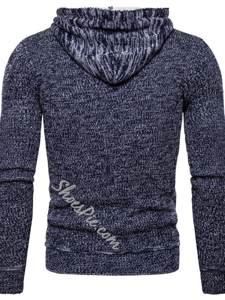 Standard Hooded Patchwork Casual Fall Sweater