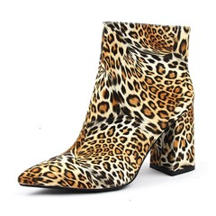 Shoespie Trendy Side Zipper Pointed Toe Chunky Heel Print Boots