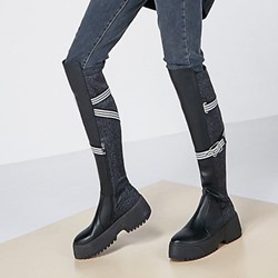 Shoespie Trendy Round Toe Patchwork Side Zipper Boots