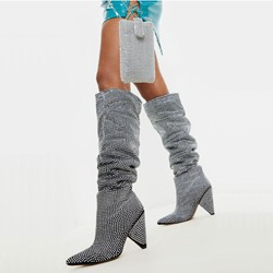 Shoespie Sexy Slip-On Pointed Toe Rhinestone Knee High Boots